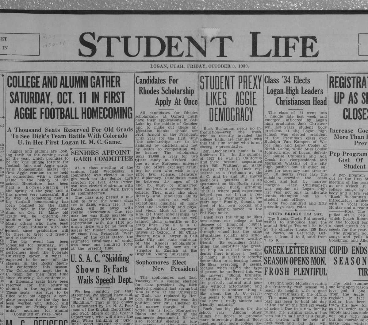 """Student Life"" Homecoming announcement, 1930"