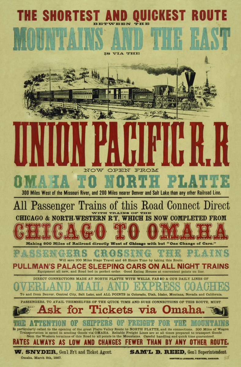 Union Pacific Railroad broadside advertisement