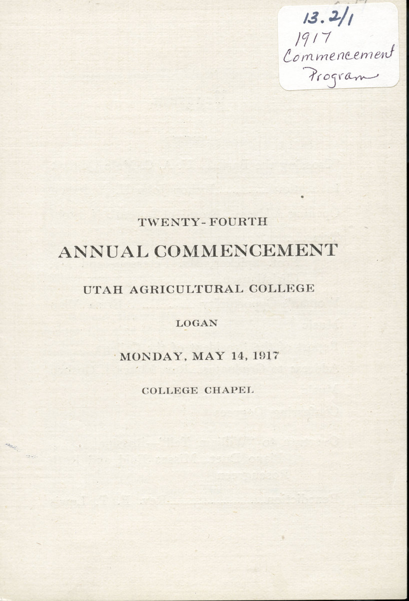 1917 UAC Commencement Program Cover