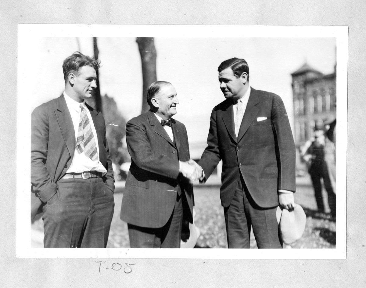 Albert Becker with Lou Gehrig and Babe Ruth, c. 1930