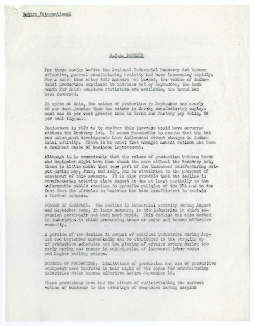 Rotary International Reports on the National Recovery Administration, 1933-1934