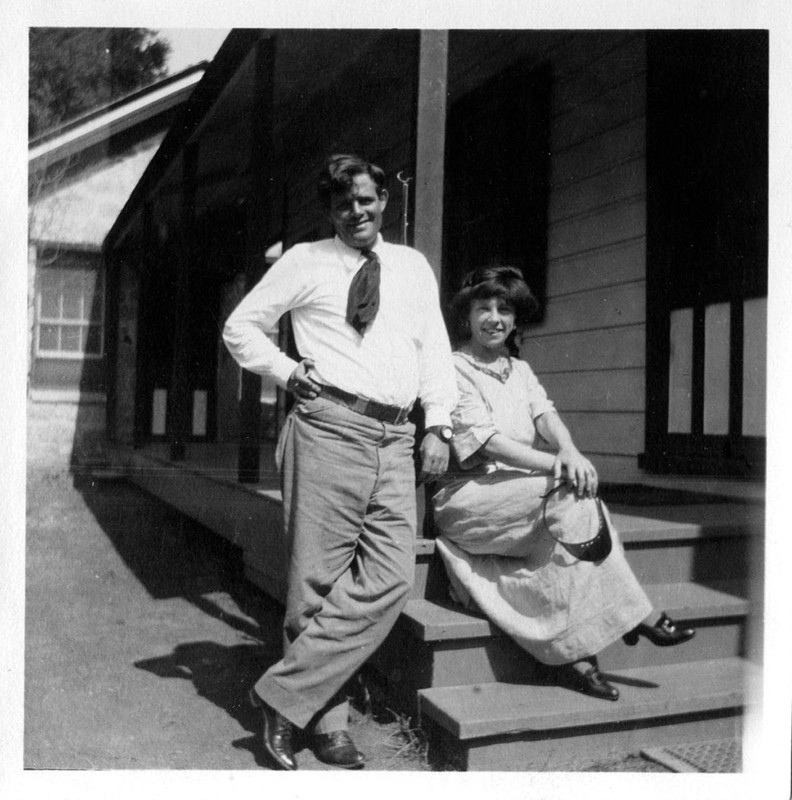 Jack and Charmian London on porch, Crater Lake, Oregon, 1911