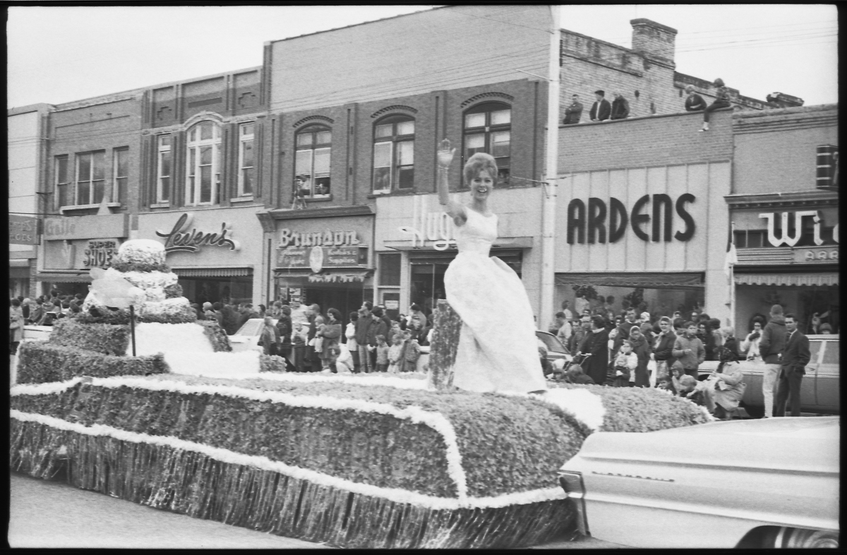 Downtown Logan in the Homecoming parade, 1965