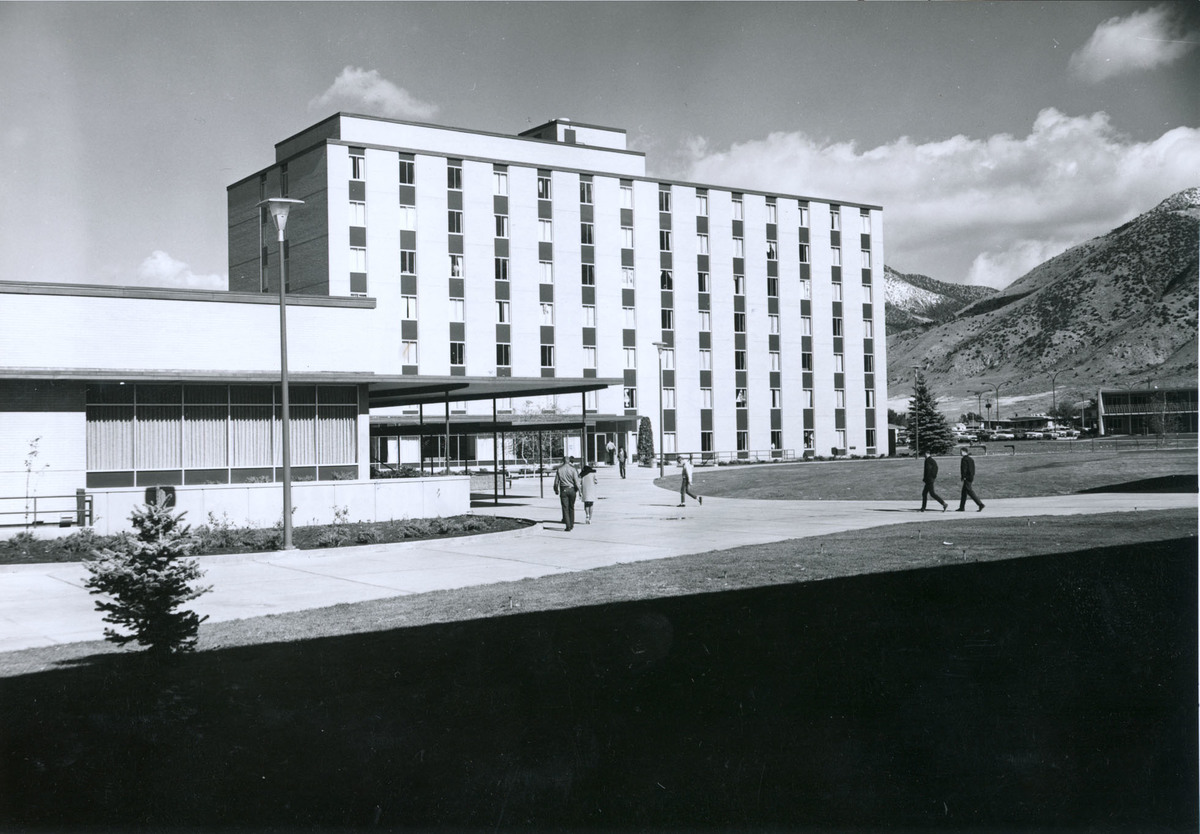 East High Rise (Mountain View) with corner of High Rise plaza, 1966