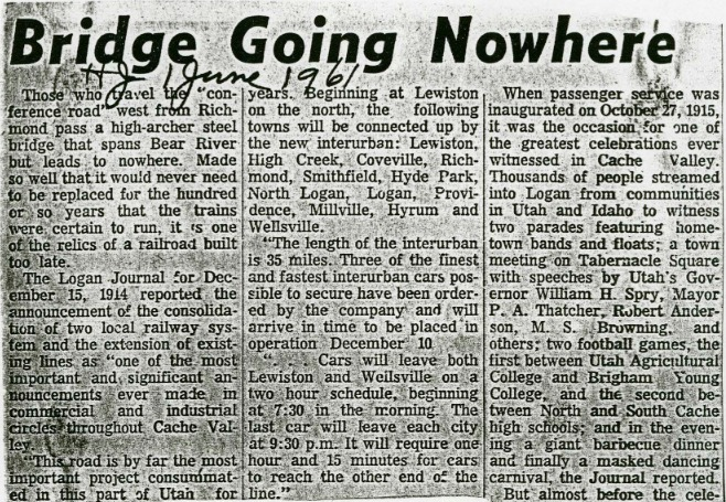 """Bridge Going Nowhere,"" Herald Journal, June 1961<br />"