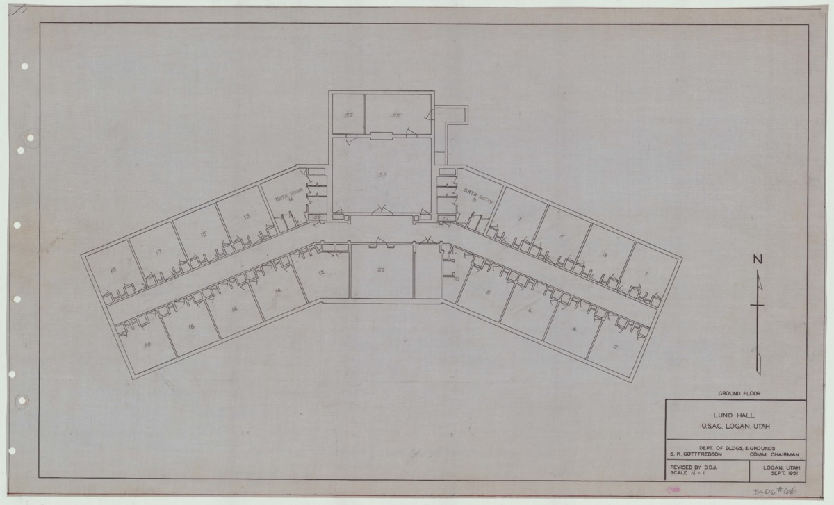 Lund Hall remodel blueprints, 1951