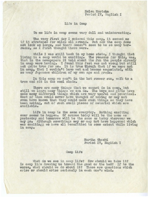 Student Papers from Tule Lake