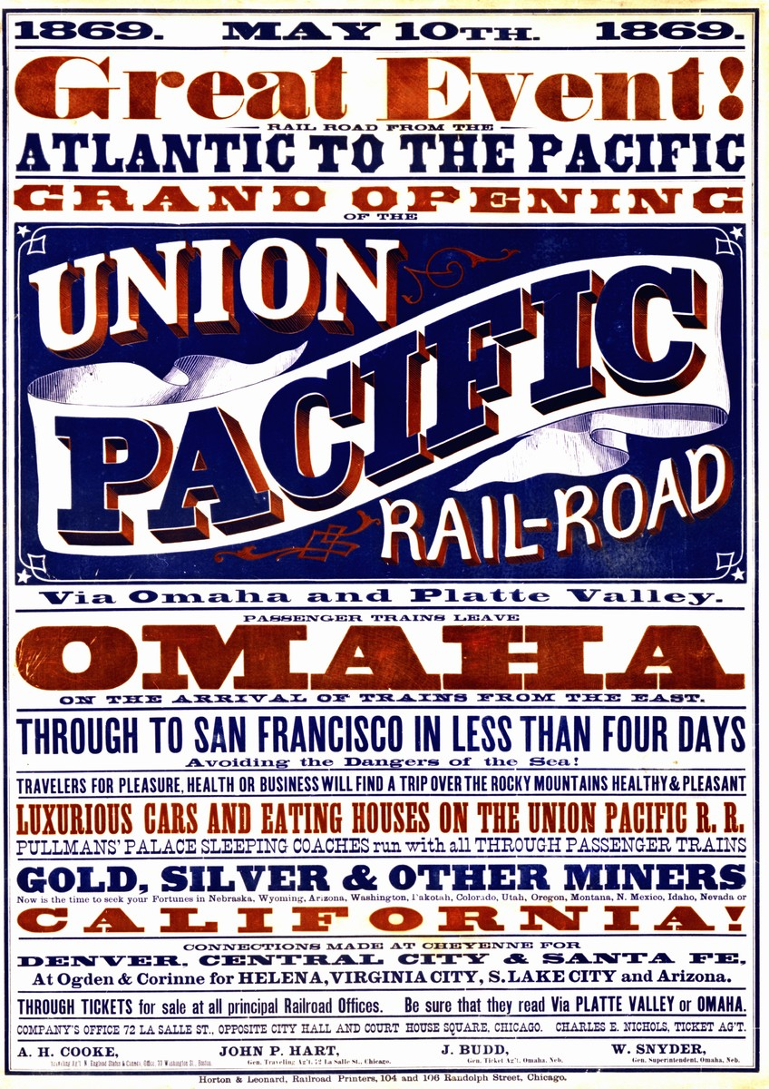 Color broadside advertising the completion of the transcontinental railroad