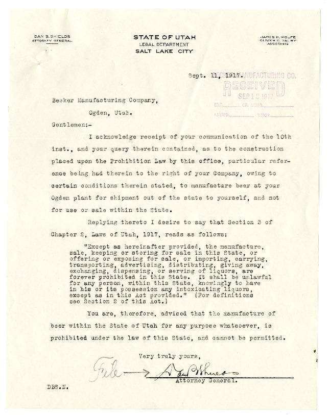Becker Brewing and Malting Company Correspondence with Utah Attorney General Dan B. Shields, 1917