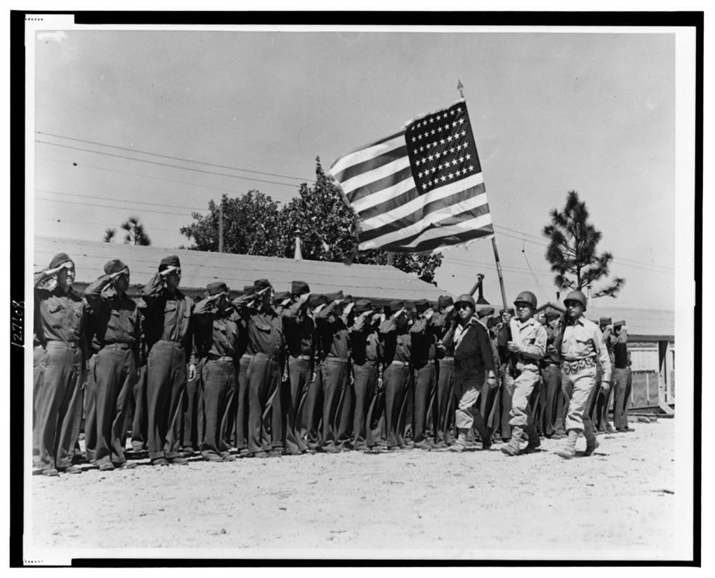 Japanese American soldiers in training