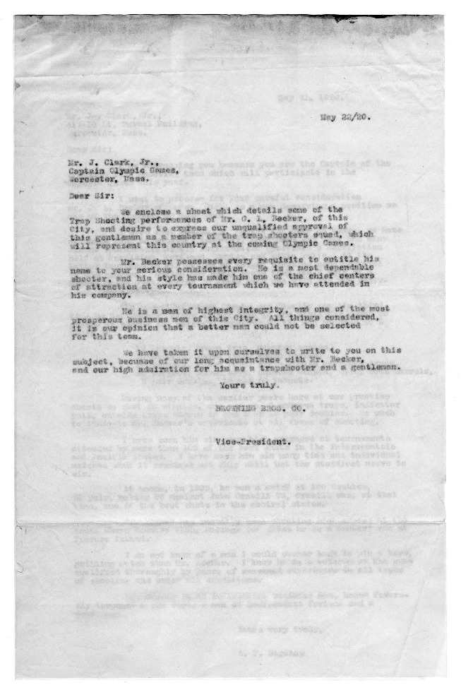 Olympic Team Letters of Recommendation, 1920
