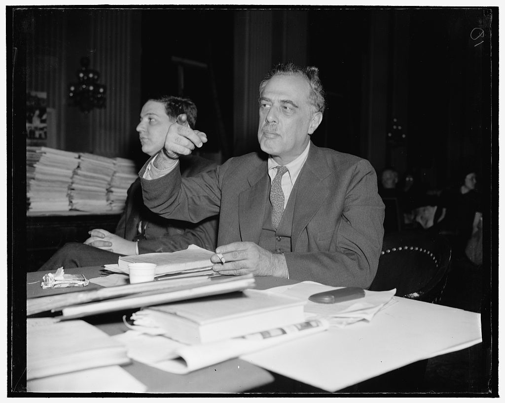 Henry G. Alsberg, Director of the Federal Writers' Project (FWP), defending the FWP in front of the House Committee Investigating Un-American Activities.