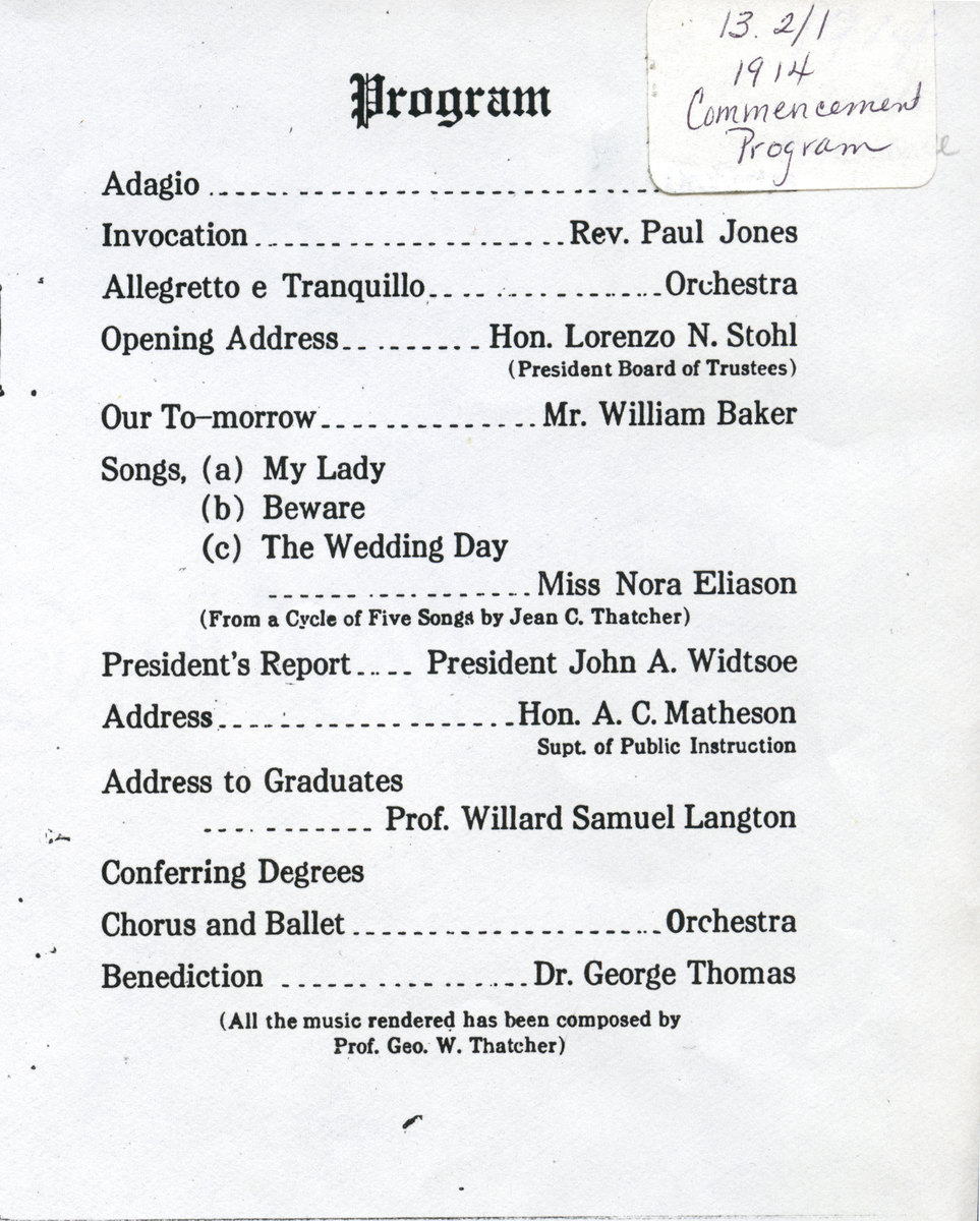 1914 UAC Commencement Program Page 1