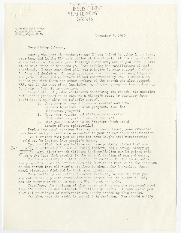 Letter from Bishop Willis to Sonia Johnson