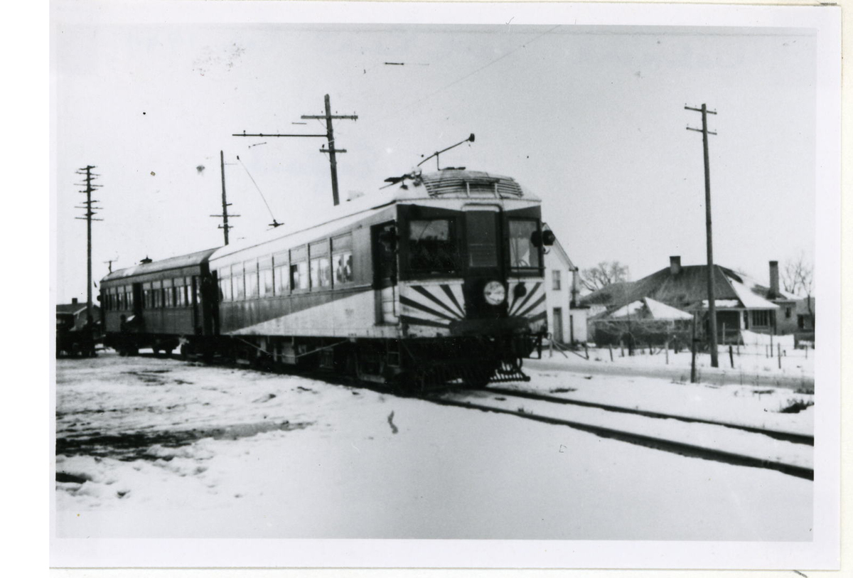 A U.I.C. Engine and Passenger Car in Providence, Utah in the Winter<br />