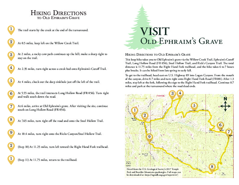 Directions to Old Ephraim's grave and monument: hiking trail and driving path