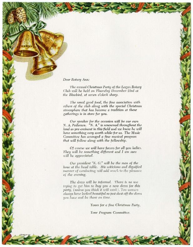 Logan Rotary Club Christmas Party Invitation, 1954
