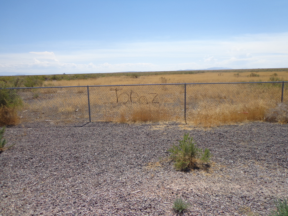 Barbed wire  lettering at the Topaz site
