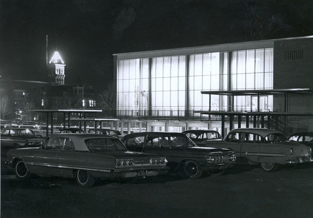 Union Building, night view, Spring 1966