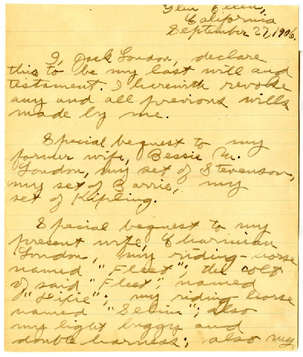 Jack London's will, dated September 27, 1906