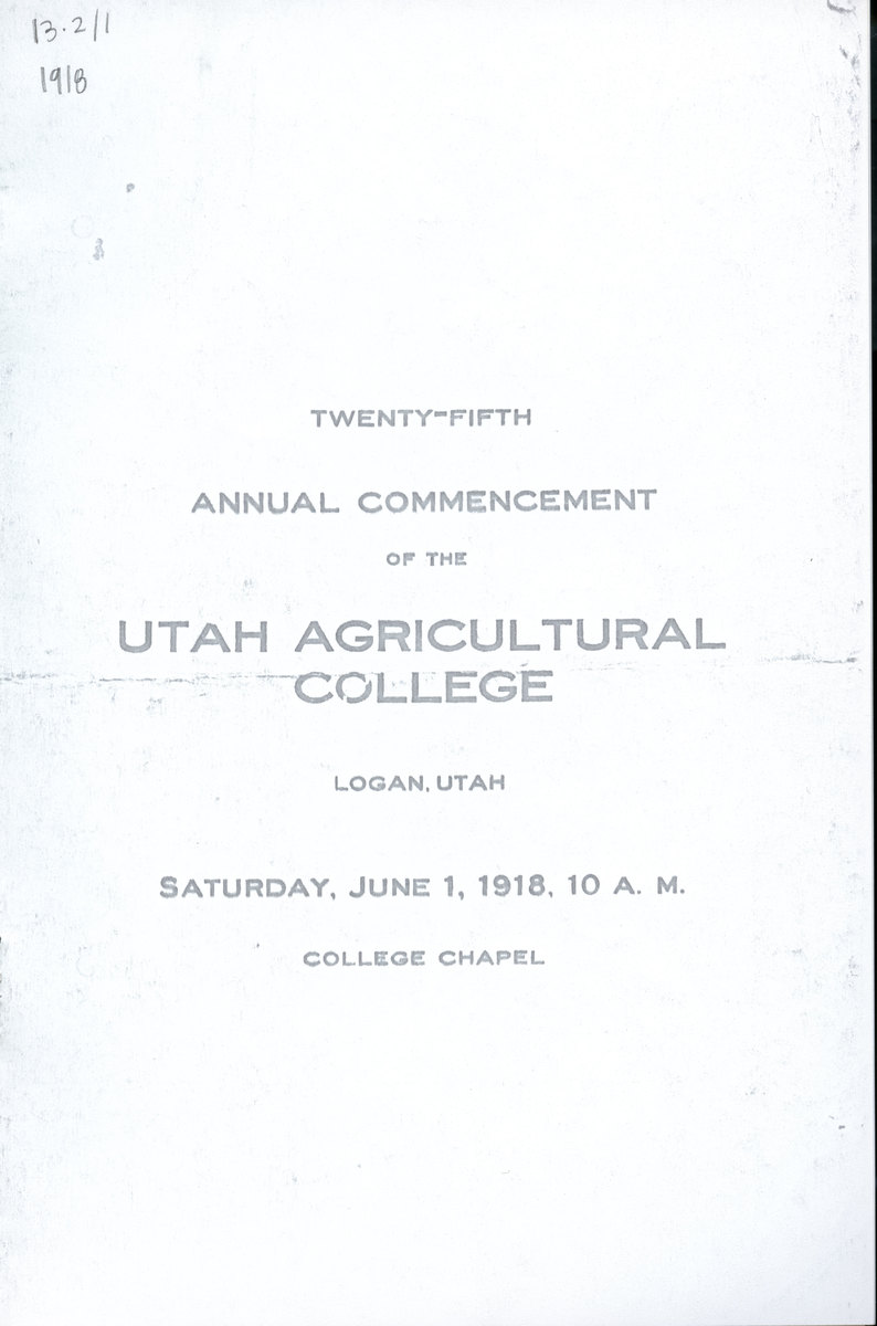 1918 UAC Commencement Program Cover