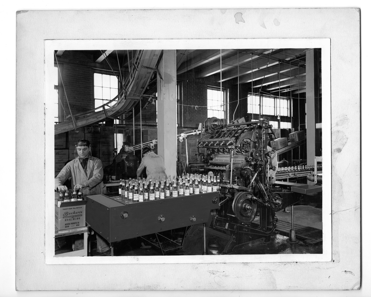 Two Employees Packaging Bottles of Becker's American Pilsner, c. 1944