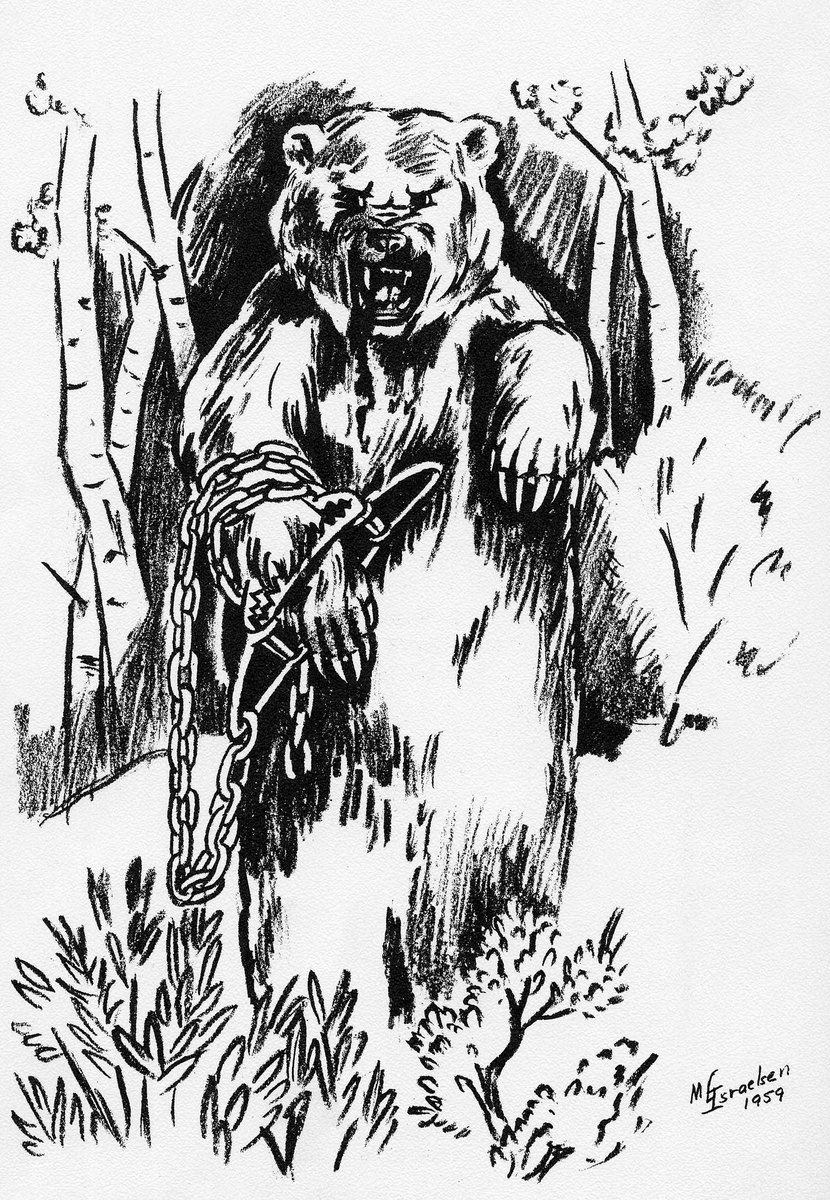 Marianna L. Israelsen drawing of Old Ephraim, 1959