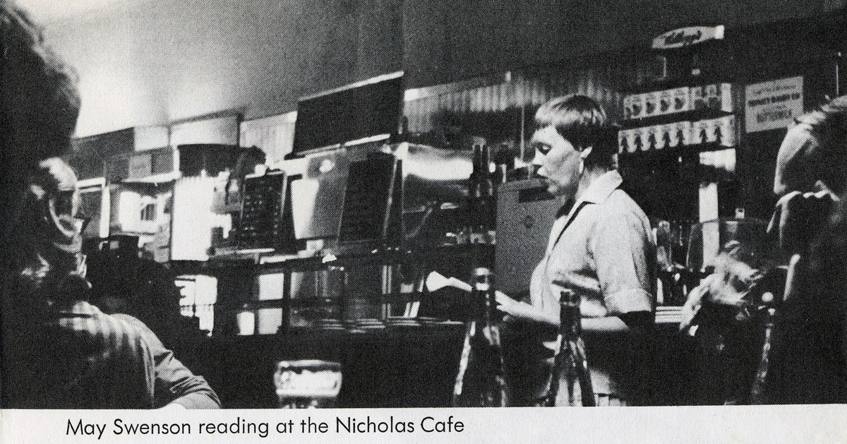 May Swenson reading at the Nicholas Cafe