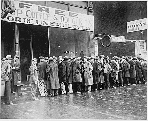 Unemployed Men Lined Up Outside a Great Depression Soup Kitchen in Chicago opened by Al Capone