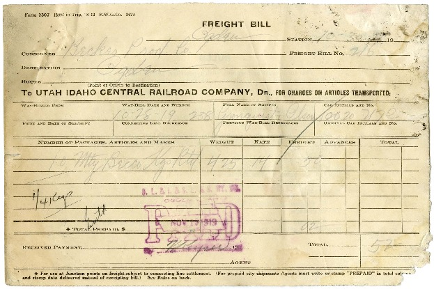 U.I.C. Freight Bill for the Becker Brewing and Malting Company, 1919<br />