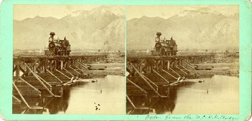 'Ogden from the U.C.R.R. bridge' - Utah Central Railroad bridge and engine