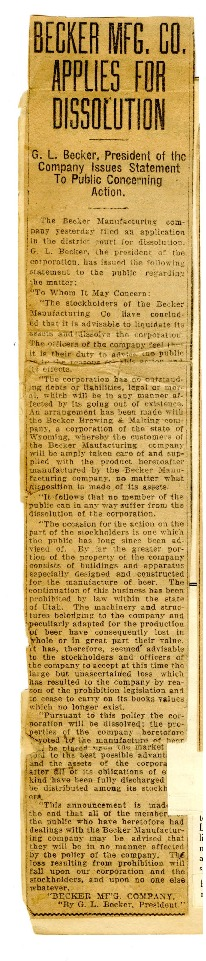 """""""Becker Manufacturing Company Applies for Dissolution,"""" c. 1919"""