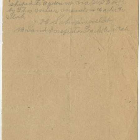 Handwritten Record of Shipping Branded Cattle on the U.I.C., 1924<br />