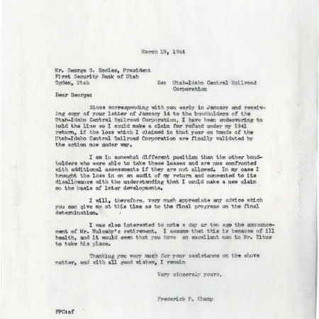 Champ to George Eccles, Bondholder Revenue Loss, 1944<br />