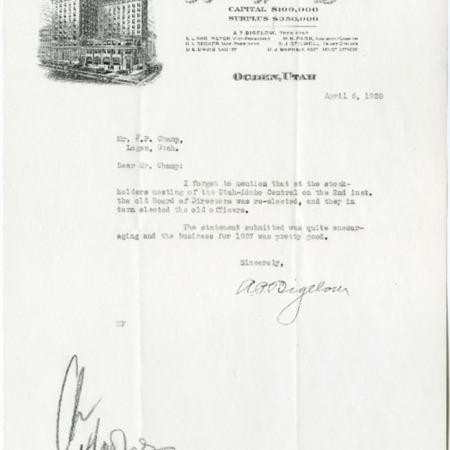 Bigelow's Report, Stockholder Meeting, 1928<br />