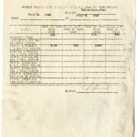 L.C.L Door to Door Freight Record, 1935<br />