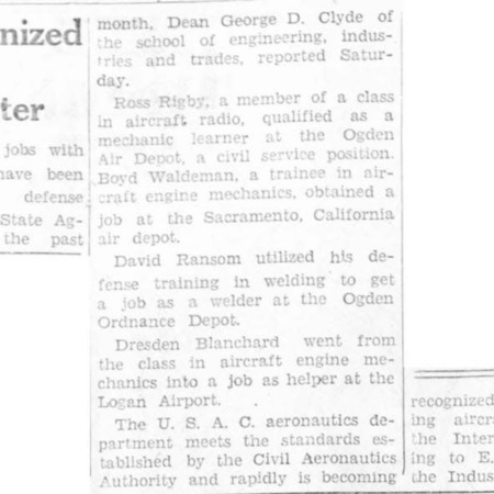 """""""USAC Recognized as Aircraft Training Center"""" article in the North Cache News from February 6, 1942"""