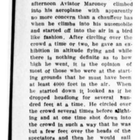 """""""Lieu. Maroney Gives Daredevil Flight"""" article in the Logan Republican from June 1, 1916"""