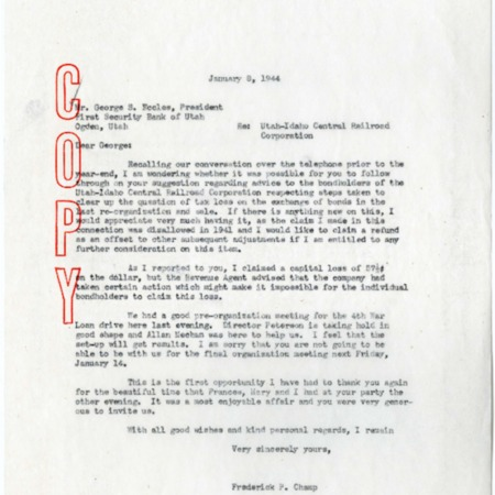 Champ to George Eccles, Bond Exchange Tax Loss, 1944<br />