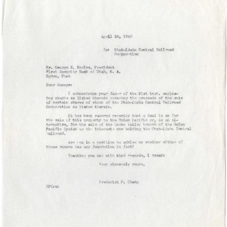 Champ to George S. Eccles, U.I.C. Sale Rumors, 1945<br />