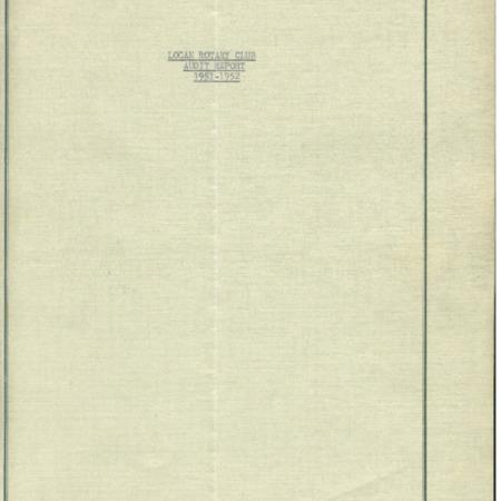 Logan Rotary Club Audit Report, 1951-52