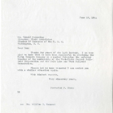 Letter from Champ to Marcellus, Lapsing of U.I.C. Chamber Membership, 1944<br />