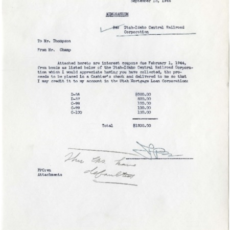 Champ to Cache Valley Banking Company, U.I.C. Bond Interest Coupons, 1944<br />