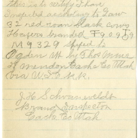 Handwritten Record of Shipping Branded Cattle on the U.I.C., 1925<br />