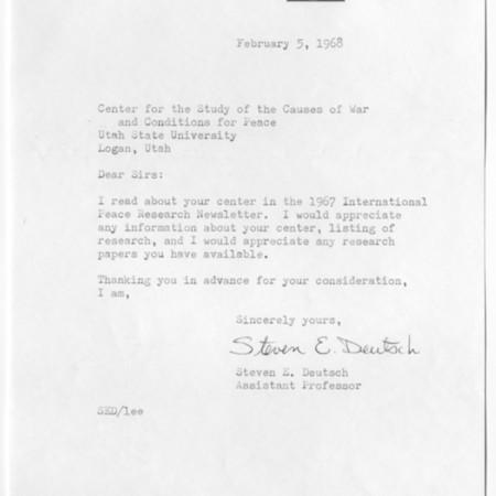 Letter - Steven E. Deutsch