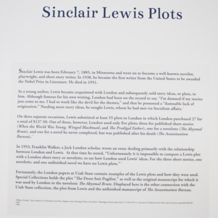 Jack London Exhibit, Sinclair Lewis Plots Panel, view 2