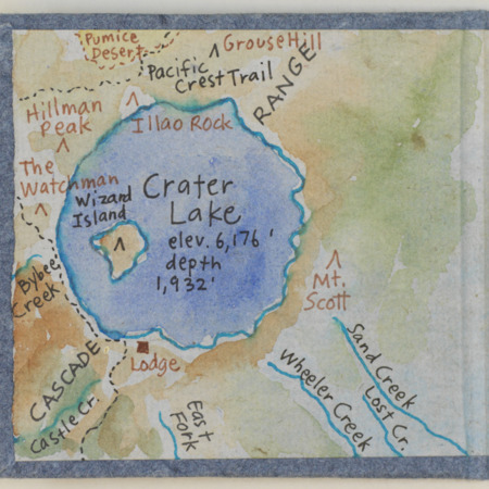 Crater Lake accordion book, inside front cover