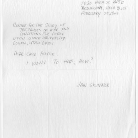 Letter - Jan Skinner