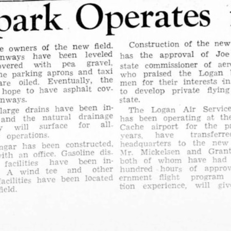 New Airpark Operates in Logan article, 1945