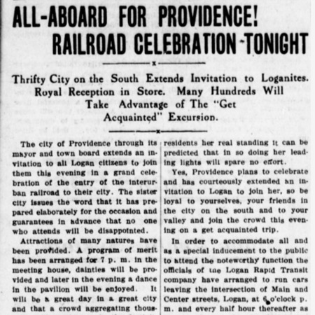 """All Aboard for Providence! Railroad Celebration Tonight,"" Logan Republican, 1913<br />"